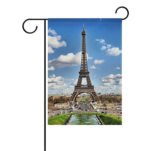 Josid Garden Flag Banner Blue Sky White Clouds Historic Landmark Monument Steel Structure Eiffel Tower 28X40 Inches Double Sided