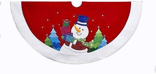 TS0201 Adler Inc Kurt Adler 48-Inch Red and White Velvet Glitter Applique Snowman Treeskirt Kurt S