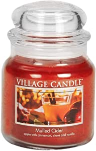 Village Candle Mulled Cider 16 oz Glass Jar Scented Candle, Medium