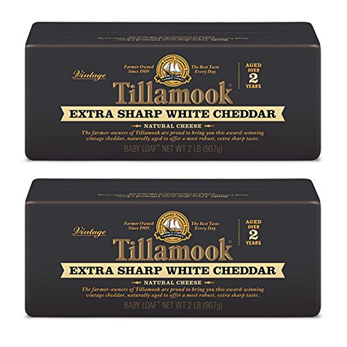 Pack of 2 Tillamook Vintage Extra Sharp White Cheddar Cheese 2 Lb Baby Loaves