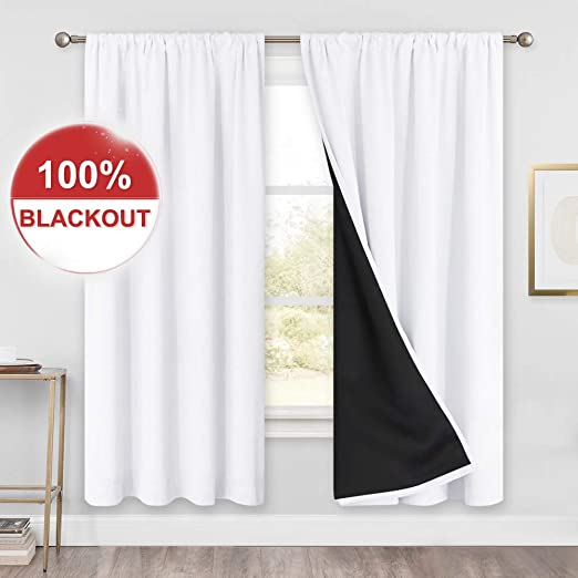 Amazon.com: PONY DANCE Blackout Curtains White - (52 x 72 inches
