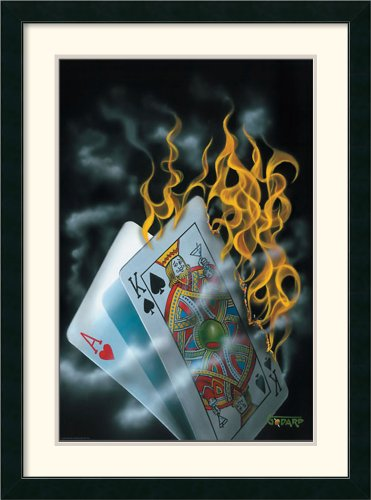 - Burning Blackjack Framed Print by Michael Godard Framed
