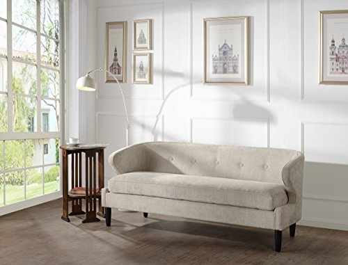 Jennifer Taylor Home, Sofa, Silver Grey, Upholstered, Hand Tufted, Wooden Legs