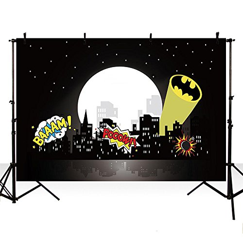 MEHOFOTO Black Super Hero Themed Photo Background City Building Black Night Moon Stars Boom Children Birthday Party Decorations Banner Backdrop for Photography -
