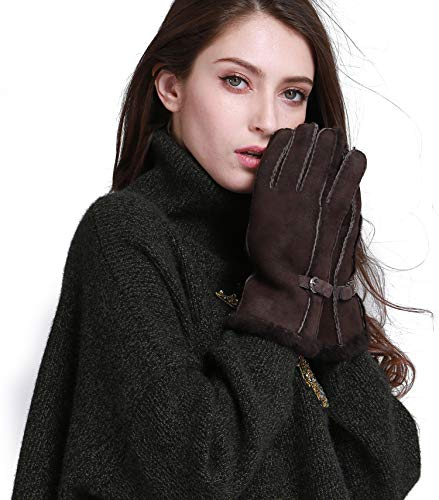 YISEVEN Women's Merino Rugged Sheepskin Shearling Leather Gloves Mittens Sherpa Fur Cuff Thick Wool Lined and Heated Warm for Winter Cold Weather Dress Driving Work Xmas Gifts, Brown Touchscreen ()