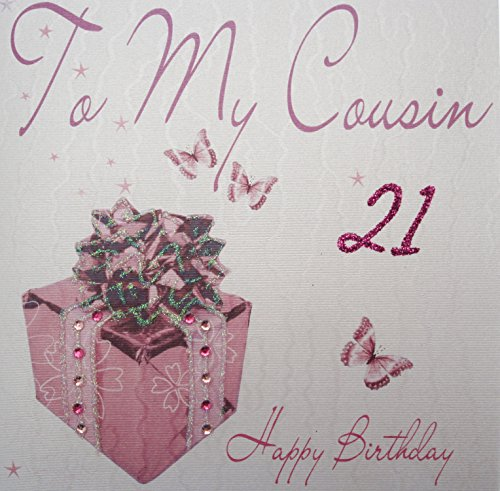 WHITE COTTON CARDS to My Cousin 21 Happy, Handmade 21st Birthday Card (Pink Present) (Best Birthday Wishes For Female Cousin)
