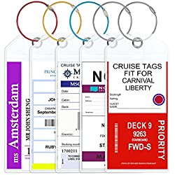 Cruise Luggage Tags Jollyants Wide Luggage Etag Holders 2019 Zip Seal & Colorful Steel Loop- Clear Thick Reusable(5 tags)
