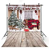 COMOPHOTO Photographic Backdrops Christmas Red House Gift Window Children Celebrate Wood Floor Photo Studio Photobooth Fantasy Background 7x5ft Cloth