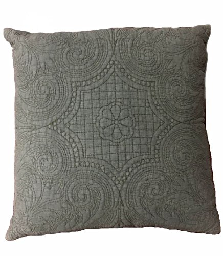 KASENTEX Stone-Washed 100 Cotton Polyester Filling Floral Embroidery Stitched Decorative Square Accent Pillow for Bed Couch Sofa Chair Bedroom Living Room Perfect Size 18×18, Slate Grey