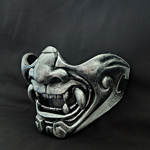 tripple_777 Custom Halloween Costume Cosplay BB Gun Kabuki Samurai Evil Demon Oni Airsoft Mask silver MA229