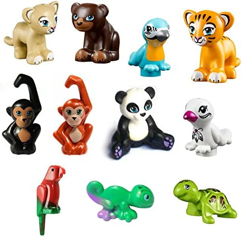 LEGO 11 pcs NEW FRIENDS ZOO Jungle LOT Monkey Panda Parrot Bird Bear Lion Tiger Iguana Turtle Animal Minifigure Minifig Figure Cute boy girl
