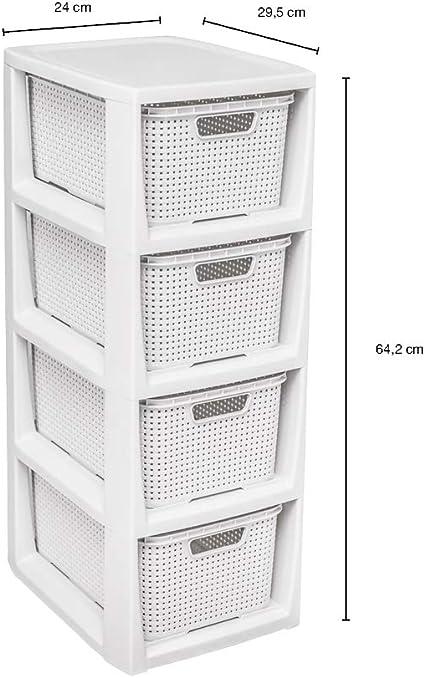 plastica Antracite 29,5 x 24 x 64,2 cm Scaffale Essenziale in Rattan BranQ Home