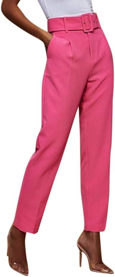 👖 Pantalón Liso De Talle Alto Sólido para Mujer Pantalones ...