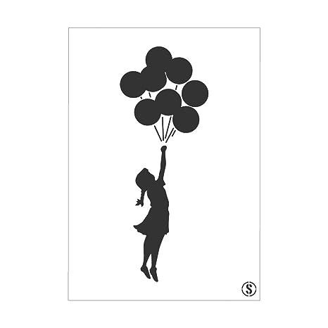La plantilla de Studio de niña con globo de Banksy 2 ...