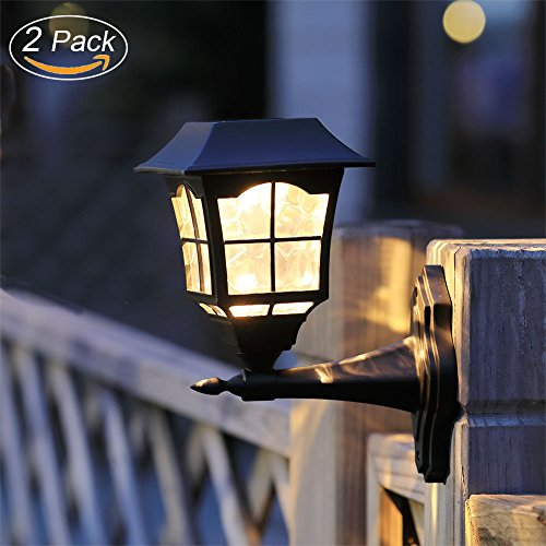 Maggift Solar Wall Lantern Outdoor Wall Sconce Solar Outdoor Led Light Fixture with Wall Mount Kit (2 Pack) (Outdoor Wall Mount Fixture)