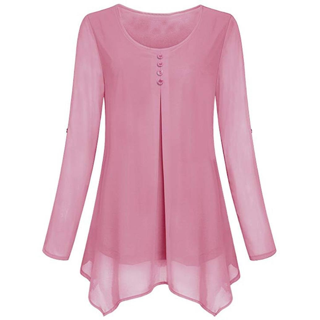 Women Roll-up Long Sleeve Shirt O-Neck Solid Flowy Chiffon Top Casual Pullover(Pink,x-Large) by iQKA (Image #1)