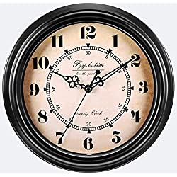Fzy.bstim 12 Inch Silent Non-Ticking Wall Clock Retro Quartz Decorative Wall Clock for Living Room Kitchen Home Office,Battery Operated