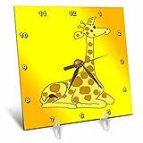 Cheap 3dRose Print of Resting Giraffe on Orangey Yellow Background – Desk Clock, 6 by 6-Inch (dc_204374_1)