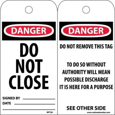 Black//Red on White Unrippable Vinyl DANGER OUT OF SERVICE Pack of 25 NMC RPT146 Accident Prevention Tag 3 Width x 6 Height