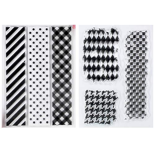 Kwan Crafts 2 Sheets Different Style Twill Dot Grid Pattern Background Clear Stamps for Card Making Decoration and DIY - Background Pattern