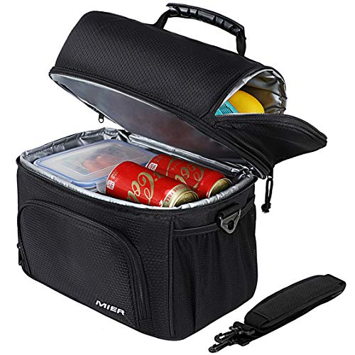 MIER Insulated Lunch Bag Tote for Women Men 2 Compartment Reusable Soft Cooler Bag for Work