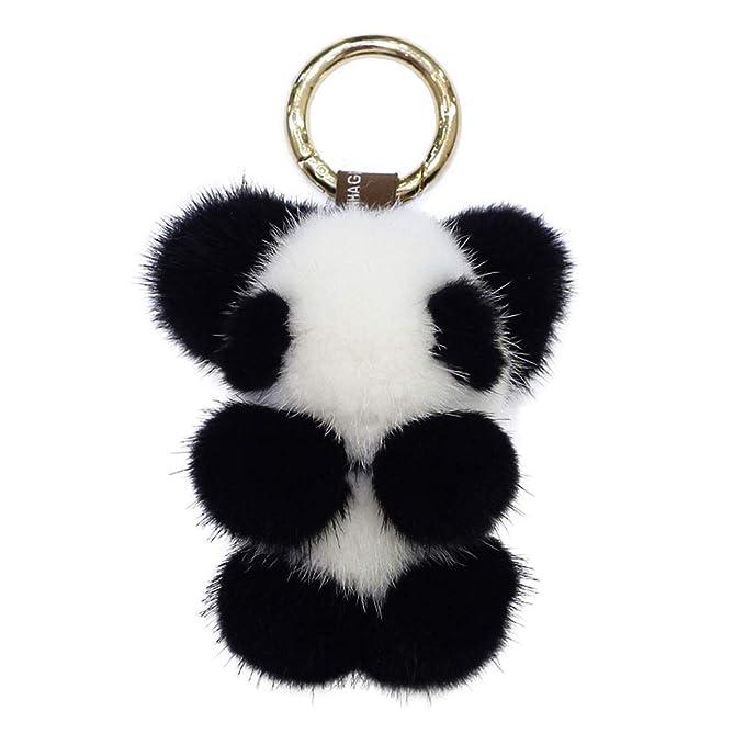 Fluffy Panda Keychain Fluffy Mink Fur Pom Pom Keychain Cute Panda ... b1809bab6b
