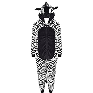 Kids Girls Boys Onesie Soft Fluffy Zebra All In One Halloween Costume 7-14 Year