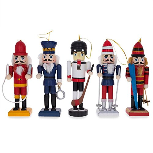 (BestPysanky Set of 5 Firefighter, Policeman, Hockey, Skier, and Snowboarder Wooden Nutcracker Christmas Ornaments 5 Inches)