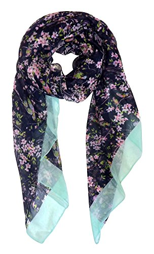 Peach Couture Scarves for Women Vintage Floral Blossom Hummingbird Print Sheer Scarf Navy