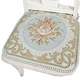 Chair Cushion Memory Foam Sideli - Classic European Puff Jacquard Decorative Chair pad Seat Cushion Memory Filling 2 Belt Fix (Green)
