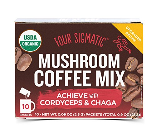 Four Sigmatic Mushroom Coffee, USDA Organic Coffee with Cordyceps and Chaga mushrooms, performance, Vegan, Paleo, 10 Count