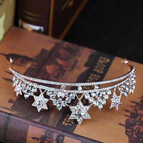 - GUSTAVE Bridal Hairdress Princess Star Crowns Rhinetone Tiaras Birthday Wedding Headband (Silver)