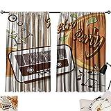 Jinguizi 70s Party Curtain Kitchen Window Retro Party Themed Artwork Old Radio Cocktails Floral Details Print Window Darkening Curtains Orange Dark Brown Beige W55 x L39