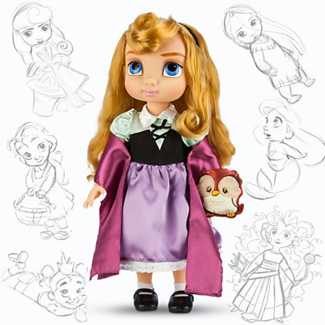 Disney Princess Animators Collection 16 Inch Doll Figure Aurora with Plush Friend Owl