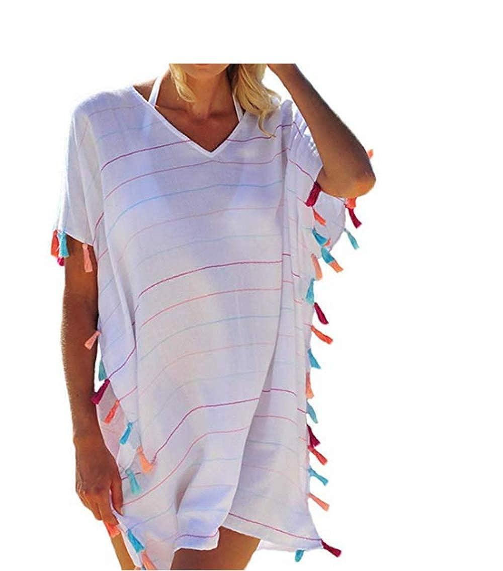 Eghunooye Damen Quaste Streifen Print Chiffon Strandkleid Badeanzug Strandponcho Bikini Cover Up