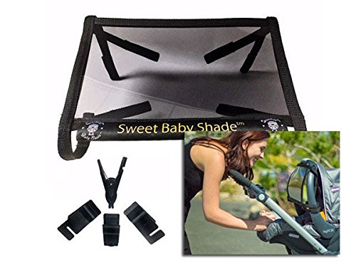 Sweet Baby Shade (black) protects your baby from the sun; best baby sunshade for strollers & car seats-reduces newborn sun exposure to skin and eyes, blocks 98% of UV rays by Sweet Baby Shade