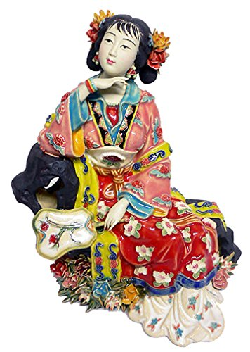 Handmade Chinese Porcelain Figurine Ming Chinese Lady Shiwan Ceramic Sculpture