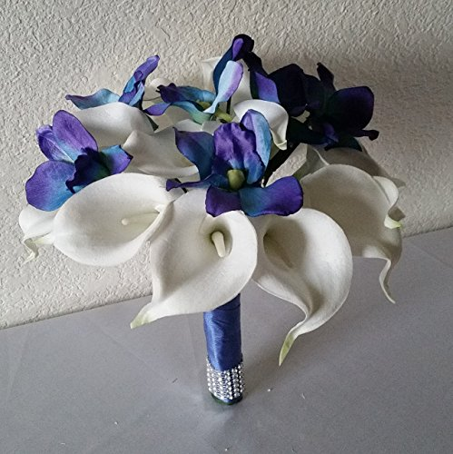 Peacock Purple Blue Turquoise Orchid Calla Lily Bridal Wedding Bouquet & - Lily Orchid Bouquet Calla