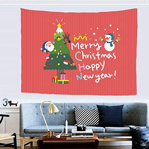 Mumeson Xmas Decor Tapestry Merry Christmas Happy New Year Greeting and Pine Tree Printed, Wall Hanging Wall Tapestries for Living Room Bedroom Dorm Decor XL