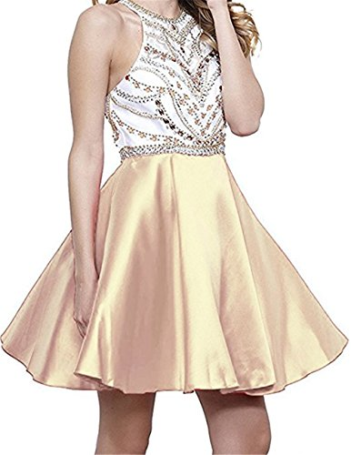 champagne a line short satin mini wedding dress - 6