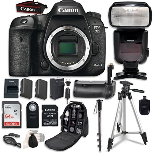 Canon EOS 7D Mark II Digital SLR Camera Bundle with W-E1 Wi-Fi Adapter (Body Only) with Professional Accessory Bundle (15 items)