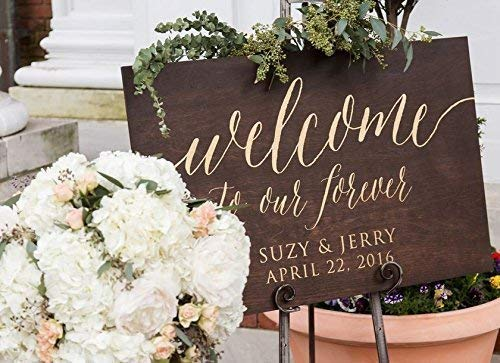 - Custom Wooden Welcome Sign for Rustic Weddings: Display Date & Couple Name, Personalized Welcome Wedding Sign, Weathered Oak Stain Wood Sign, Wedding & Reception Decorations