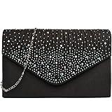 Miss Lulu Ladies Diamante Clutch Evening Bridal Wedding Bag Handbag (Black)