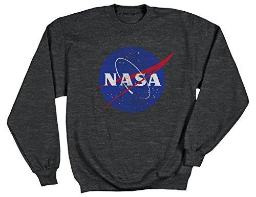 Ripple Junction NASA Distressed Meatball Logo Adult Sweatshirt Large Heather Charcoal