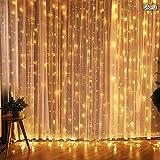Cortina de luces LED, Gloriz 3 * 3M 300LEDs luz led lampara lluminación de decoración al aire libre con 8 modelos de lluminación, impermeable IP54 para Decoración de Ventanas, la decoración de fiestas,bodas, Blanco cálido