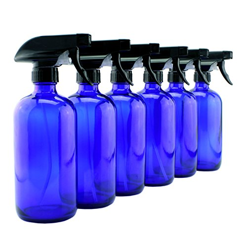 16oz Cobalt Blue Glass Spray Bottles (6 Pack), Heavy Duty Mist and -