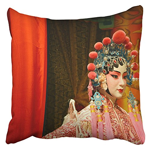 Emvency Decorative Throw Pillow Covers Cases Red China Cantonese Opera Dummy Chinese Beijing Actor Theater Tour Traditional Activity 16x16 inches Pillowcases Case Cover Cushion Two Sided