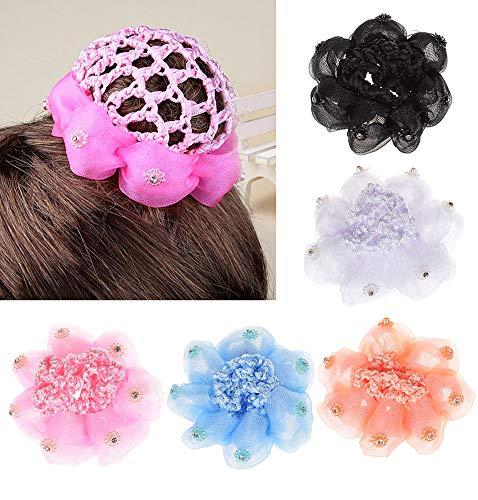 - UTENEW Girls Bun Covers Snood Ballet Dance Hair Net Accessories 5 Pack Knit Mesh Fabric Rhinestone Women's Hair Bun Cover