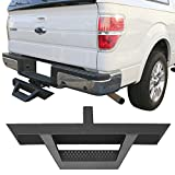 Rear Hitch Mount Step Utility Multi Purpose Truck Bed Universal Cabs V2 Style Black Texture Bumper Guard by IKON MOTORSPORTS