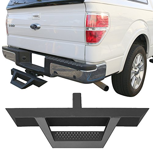 Rear Hitch Step Fits Universal Cabs W/ 2Inch Receiver 31.5Inch Long V2 Style Black Bumper Guard Side Step Bar Running Boards by IKON MOTORSPORTS